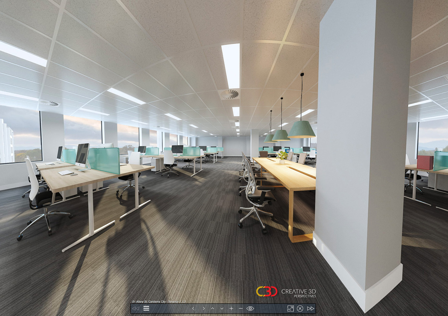 Creative 3D Perspective interior office screenshot from a virtual tour