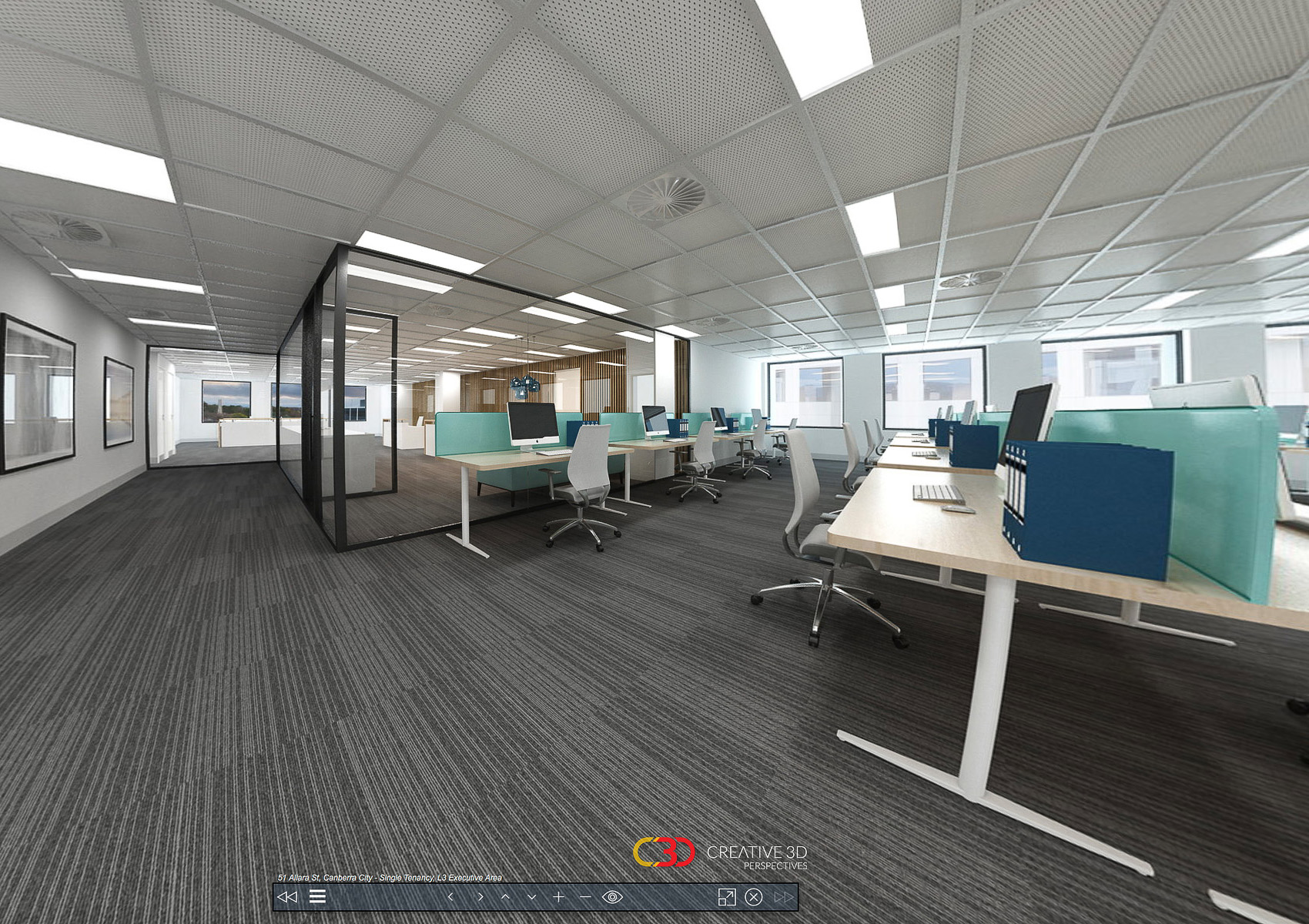 Inter-tenancy collaboration hub and breakout area shown, Creative 3D Perspective interior office screenshot from a virtual tour