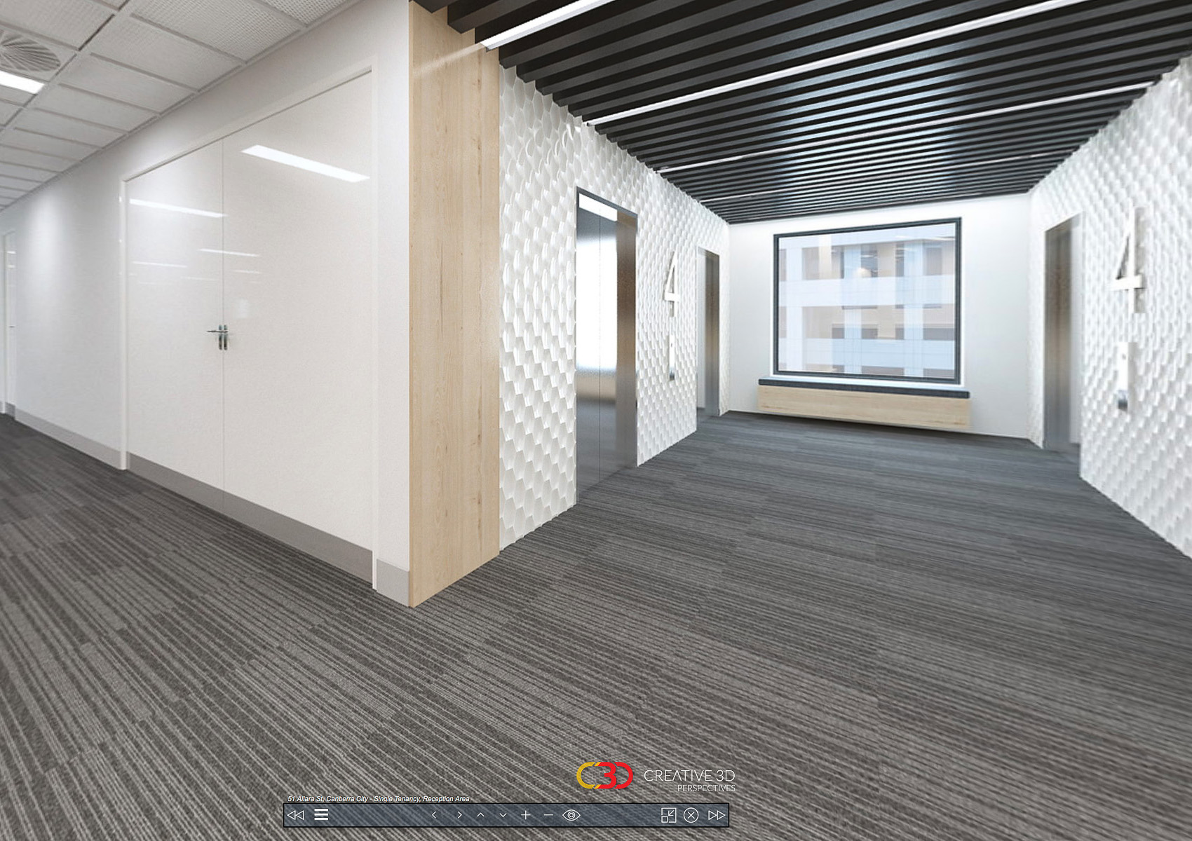 Lifts area of this modern office fitout design, cladding shown on walls, Creative 3D Perspective interior office screenshot from a virtual tour