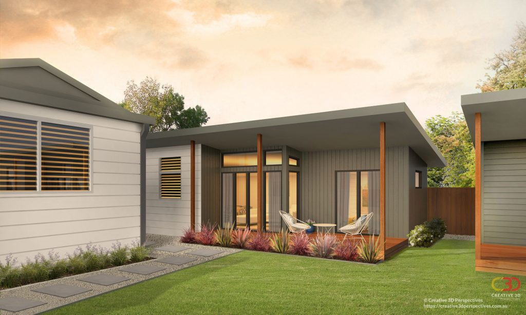 3D Artist impression of a granny flat exterior (example, Sydney backyard)