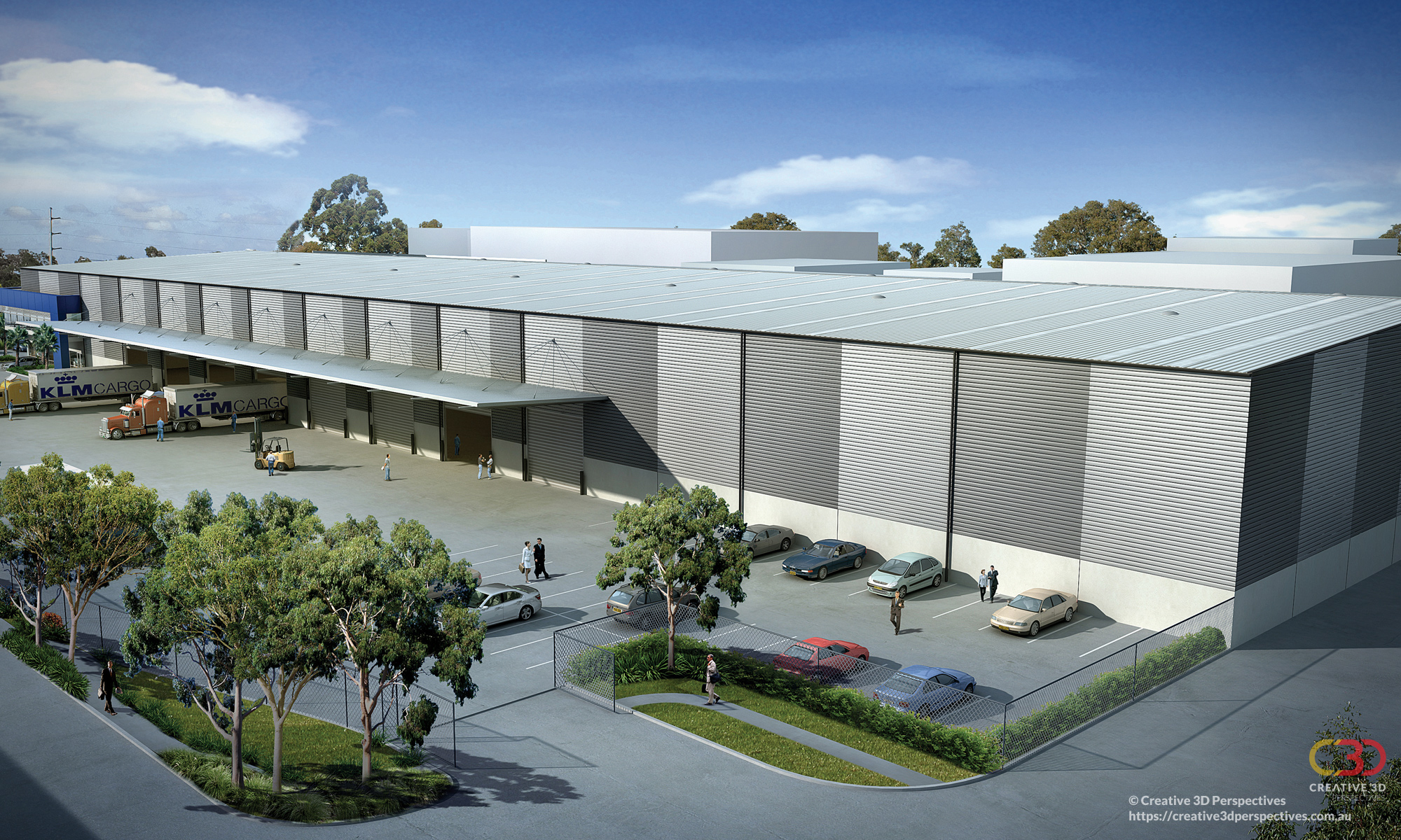 2 Glenndenning NSW Warehouse, exterior loading area, oblique aerial view of façade with office mezzanine, Creative 3D Perspective