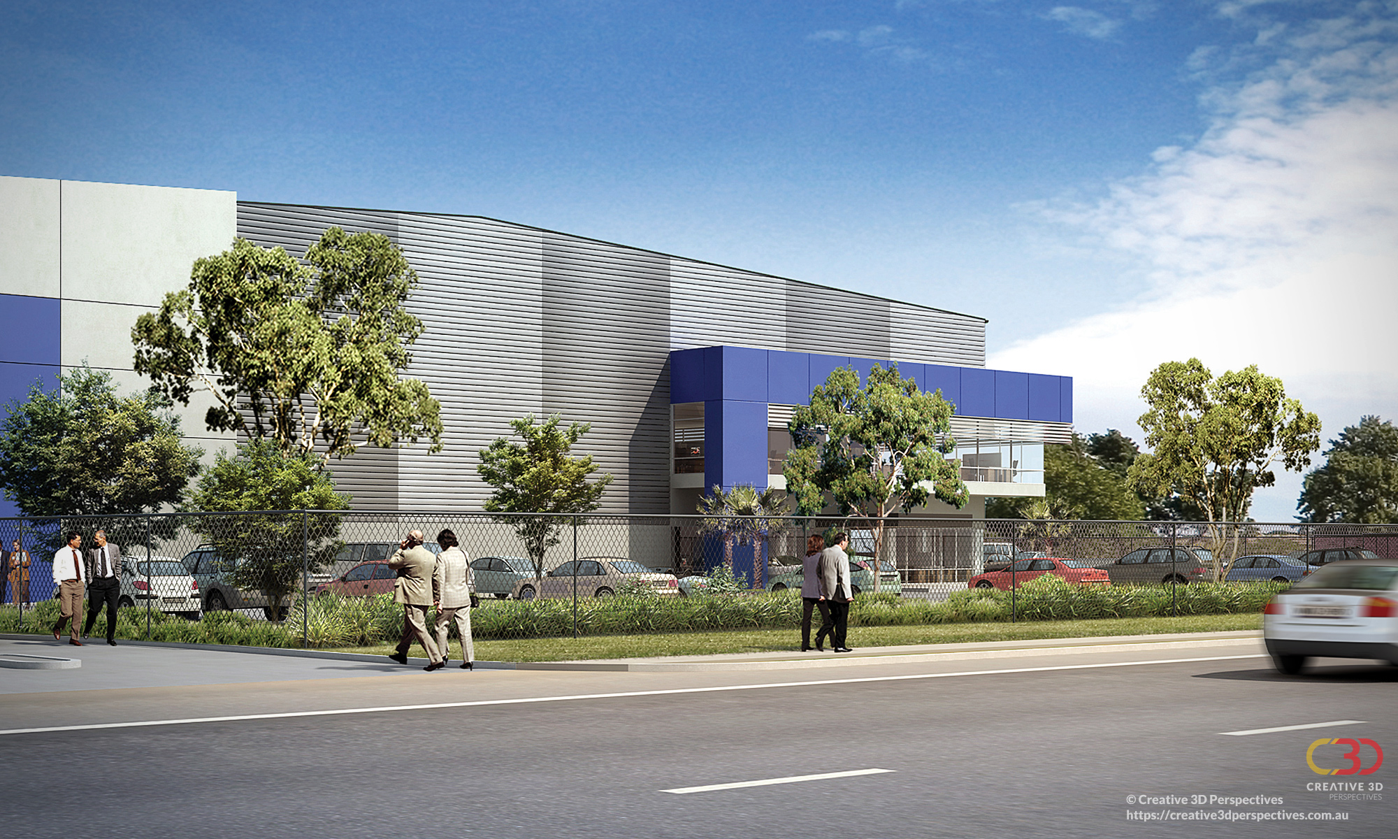 2 Glenndenning NSW Warehouse, exterior streetscape façade, Creative 3D Perspective